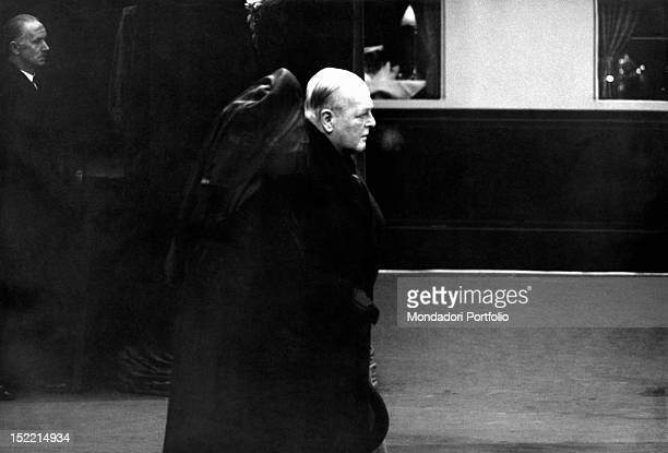 The wife of the British ex-prime minister Winston Churchill Lady Clementine attending the funeral of her husband with her son Randolph Churchill....