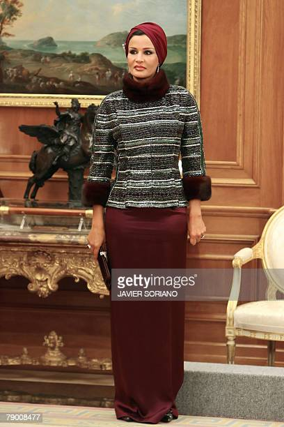 The wife of the Emir of Qatar Sheikha Mozah bint Nasser Al Missned is pictured during an official representation of assistants of the Alliance of...