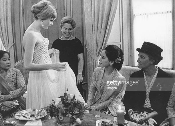 The wife of the indonesian prime minister Sukarno Ratna Sari Dewi Sukarno at a fashion show by Fred Adlmueller Vienna September 1961 Photograph by...