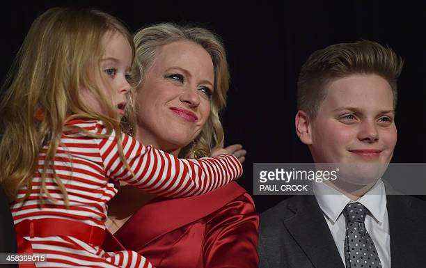 The wife of the Leader of the Australian Labor Party Bill Shorten Chloe holds their daughter Clementine as their son Rupert looks on as Shorten...
