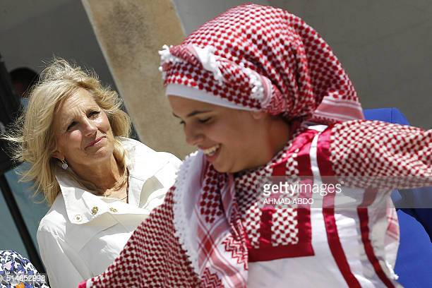 The wife of US vice president Jill Biden visits a school for Syrian refugees in the Jordanian city of Mafraq near the border with Syria on March 10...