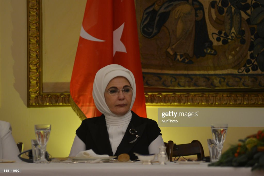The wife President of Turkey, Recep Tayyip Erdogan, Emine Erdogan at an official dinner in Athens on December 7, 2017, during a two day visit to Greece. Erdogan is the first turkish President after 65 years to visit Greece.