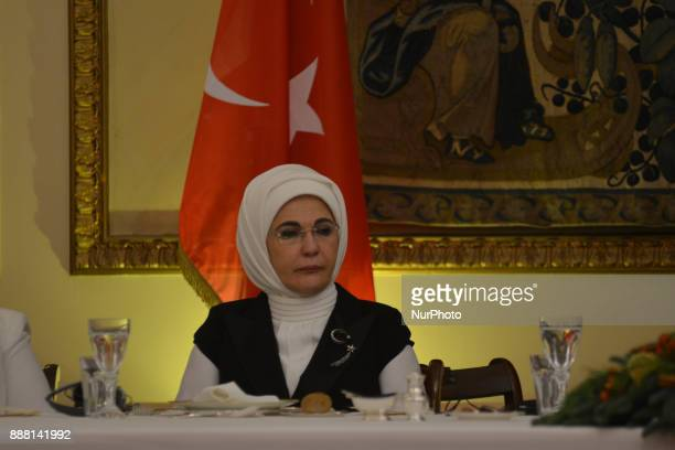 The wife President of Turkey Recep Tayyip Erdogan Emine Erdogan at an official dinner in Athens on December 7 during a two day visit to Greece...