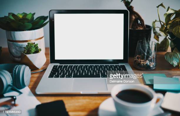 the wifi and coffee are ready - laptop stock pictures, royalty-free photos & images