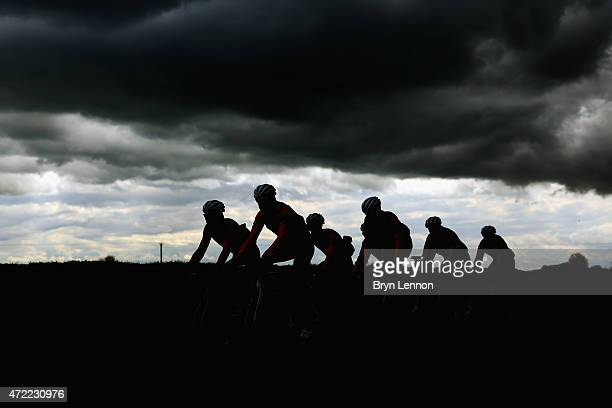 The Wiggins team in action on a training ride ahead of the Tour de Yorkshire on April 30 2015 in York England