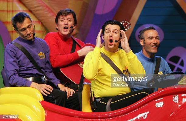The Wiggles children's entertainers Jeff Fatt Murray Cook Sam Moran and Anthony Field perform on stage after holding a press conference to announce...