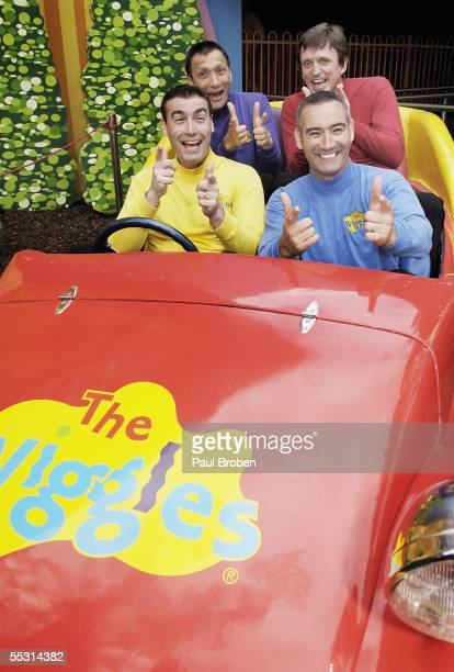 The Wiggles enjoy a ride during the launch of Wiggles World at Dreamworld September 8 2005 on the Gold Coast Australia