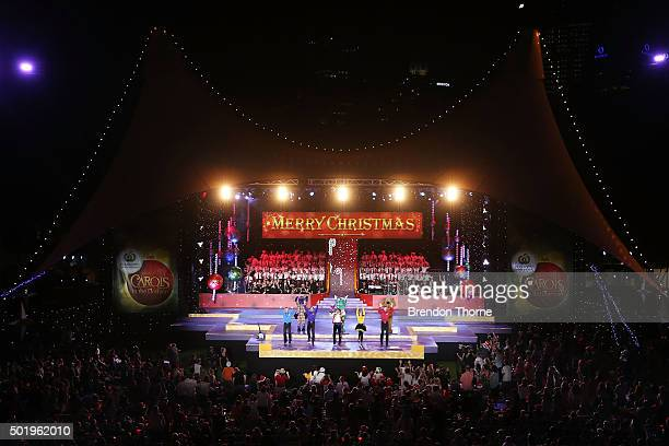 The Wiggles perform on stage during Woolworths Carols in the Domain at The Domain on December 19 2015 in Sydney Australia Woolworths Carols in the...