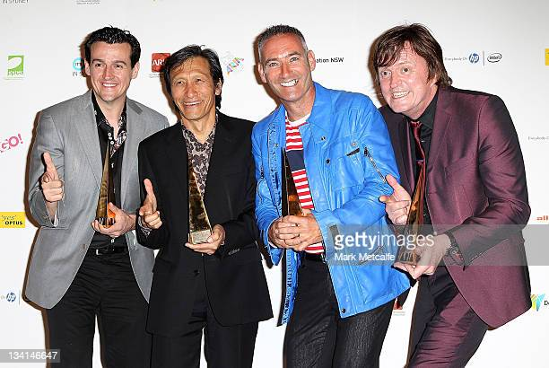 The Wiggles pose with the award for induction into the Hall of Fame at the 2011 ARIA Awards at Allphones Arena on November 27 2011 in Sydney Australia
