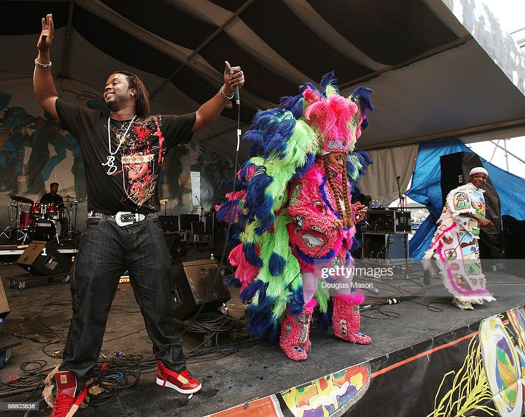 The Wild Magnolia Mardi Gras Indians perform at the 2010 New Orleans Jazz & Heritage Festival Presented By Shell, at the Fair Grounds Race Course on May 2, 2010 in New Orleans, Louisiana.