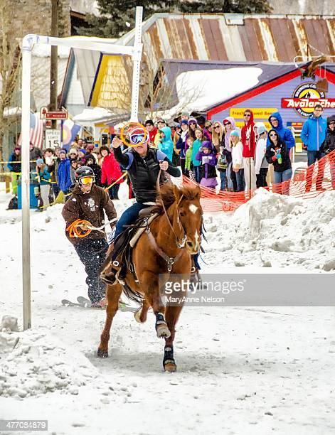 The Wild West is still alive. A skijoring competition is held yearly in Silverton, Colorado. Ski racers are pulled down a course by a horse and...