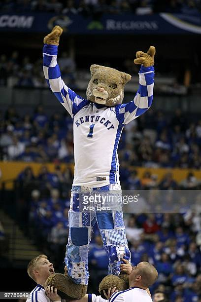 The Wildcat mascot for the Kentucky Wildcats performs against the Mississippi State Bulldogs during the final of the SEC Men's Basketball Tournament...