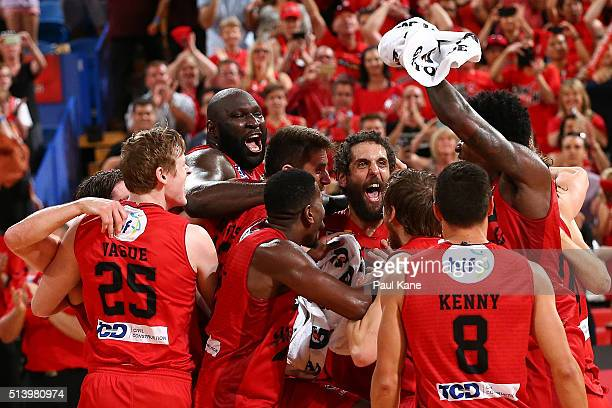 The Wildcats celebrate after winning the championship during game three of the NBL Grand Final series between the Perth Wildcats and the New Zealand...