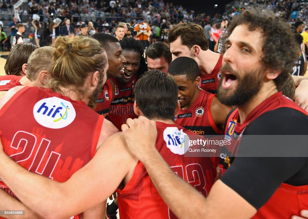 The Wildcats huddle together after winning the round 19 NBL match between Melbourne United and the Perth Wildcats at Hisense Arena on February 12, 2017 in Melbourne, Australia.