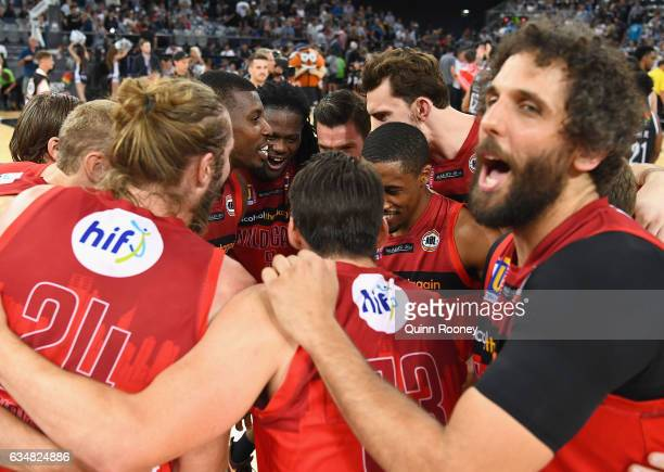 The Wildcats huddle together after winning the round 19 NBL match between Melbourne United and the Perth Wildcats at Hisense Arena on February 12,...