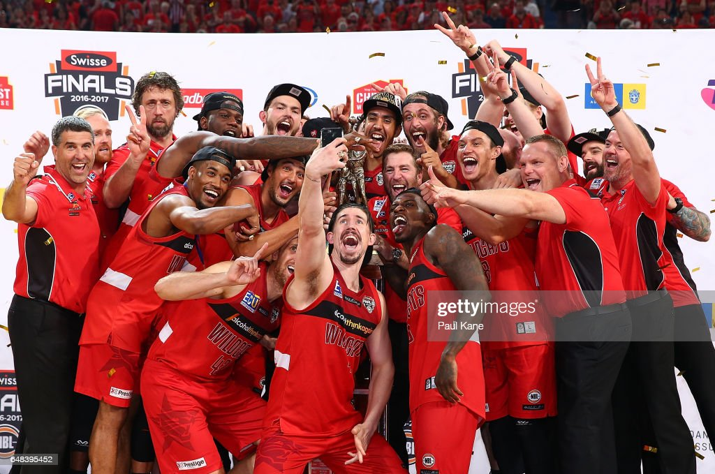 The Wildcats pose for a selfie after winning game three and the NBL Grand Final series between the Perth Wildcats and the Illawarra Hawks at Perth Arena on March 5, 2017 in Perth, Australia.