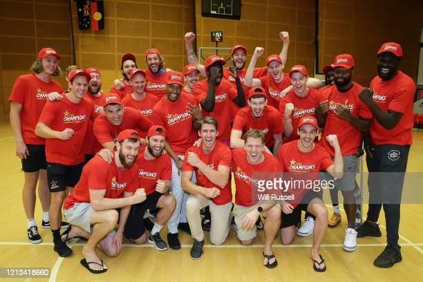 The Wildcats react after they were awarded the 2019/20 Hungry Jack's NBL Championship during a Perth Wildcats NBL Finals Media Opportunity at Bendat...