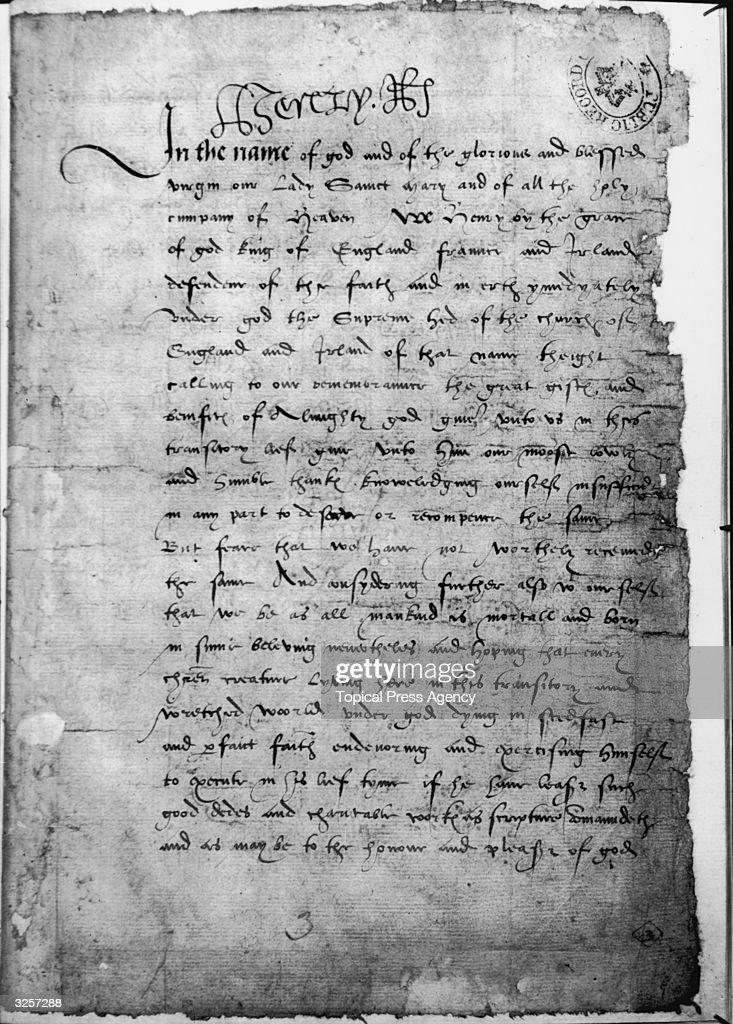 Henry VIII's Will : News Photo