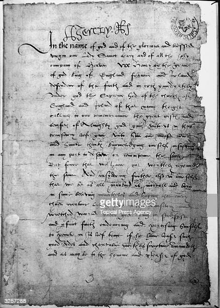 The will of King Henry VIII king of England from 1509 until his death in 1547 It contains the king's instructions as to the succession of the throne...