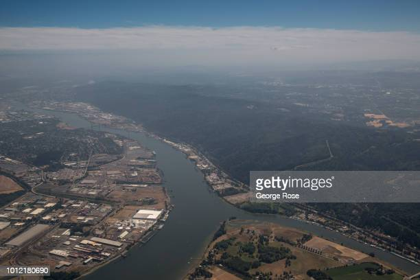 The Willamette River is viewed from a southbound Alaska Airlines commercial flight on August 1 over Portland Oregon Portland is the largest city in...