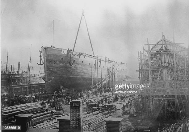 The William H Webb Ship Yard during the American Civil War New York City New York USA circa 1863 The ship under construction is the 'Re Don Luigi di...