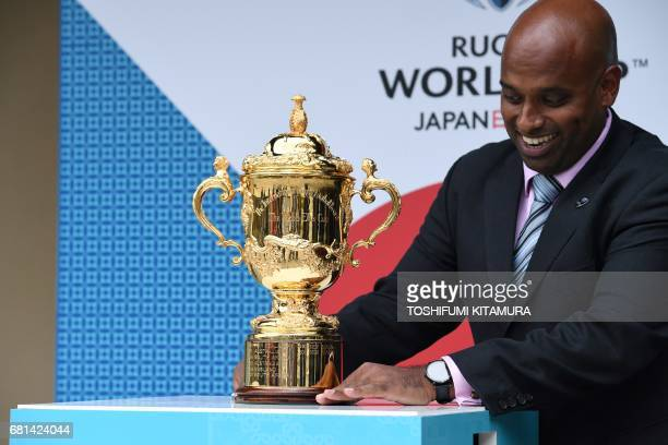 The William Webb Ellis Cup is displayed before the Rugby World Cup 2019 pool draw at the Kyoto State guesthouse in Kyoto on May 10 2017 / AFP PHOTO /...