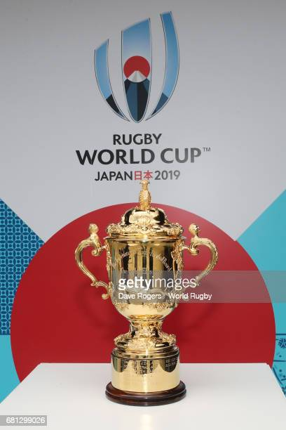 The William Webb Ellis Cup is displayed during the Rugby World Cup 2019 Pool Draw at the Kyoto State Guest House on May 10 2017 in Kyoto Japan