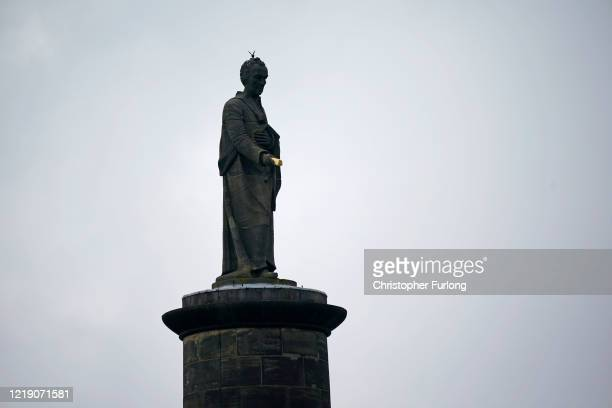 The William Wilberforce statue is seen during a Black Lives Matter protest on June 10, 2020 in Hull, United Kingdom. The death of an African American...