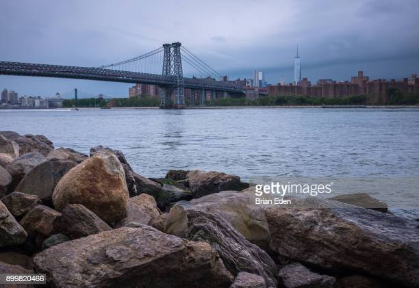 The Williamsburg Bridge seen from the waterfront in Brooklyn, New York