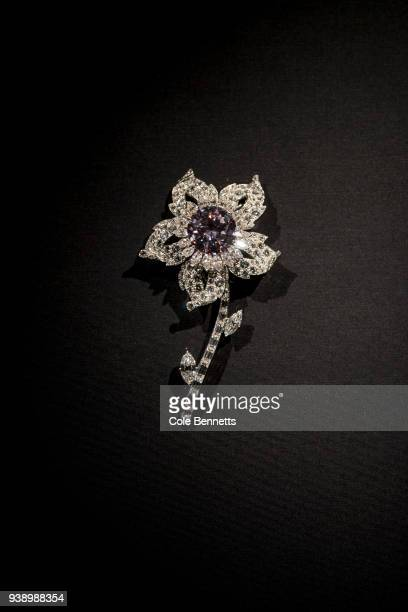 The Williamson brooch lent by Her Magesty Queen Elizabeth II on show at the Cartier The Exhibition Media Preview at the National Gallery of Australia...