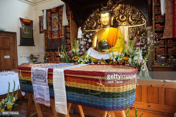 The willow eco coffin of Jon Underwood rests at the Jamyang Buddhist Centre on July 6 2017 in London England The funeral of Jon Underwood founder of...
