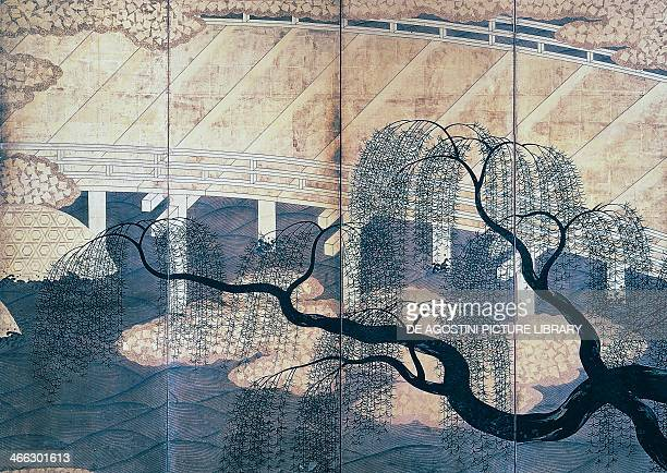 The willow on the bridge Uji screen by an unknown Japanese artist Japanese civilisation 17th century
