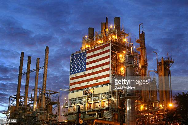 The Wilmington ARCO refinery is seen before dawn December 19 2003 in Los Angeles California Crude oil prices have reached the highest level since...