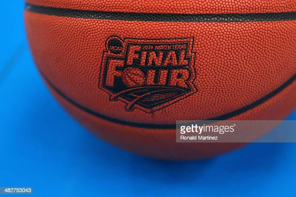 The Wilson basketball with the Final Four logo is seen as the Kentucky Wildcats practice ahead of the 2014 NCAA Men's Final Four at ATT Stadium on...