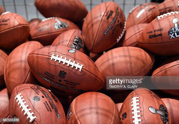 The Wilson Football Factory booth displays authentic Super Bowl XLV Game Balls and how they are individually produced at the NFL Experience in the...