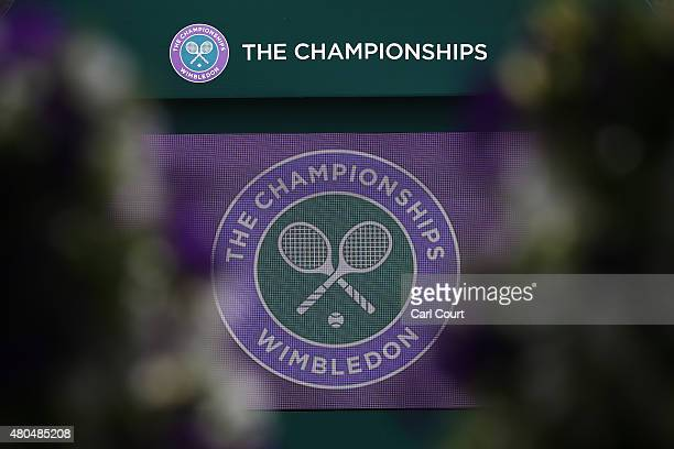 The Wimbledon logo is pictured on a large television screen next to Murray Mound on day 13 of the Wimbledon Lawn Tennis Championships at the All...