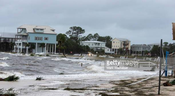 The wind and waves continue to pound the community of Shell Point several hours after Hurricane Michael made landfall on October 10 2018 in...