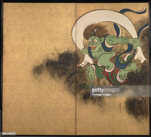 The Wind God Right part of twofold screens Wind God and Thunder God Early 18th cen Found in the collection of the Tokyo National Museum
