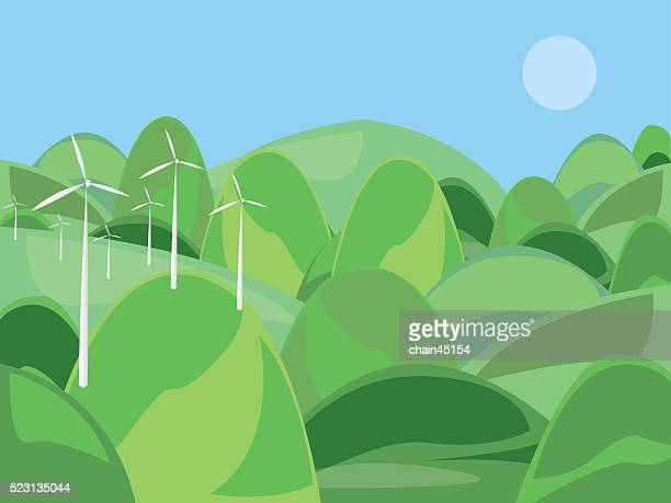 The wind turbine farm with green mountain vector illustration.