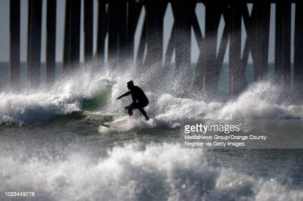The wind whips up the surf Saturday in Huntington Beach where mist rises from the waves. ///ADDITIONAL INFORMATION: Ð MINDY SCHAUER, ORANGE COUNTY...