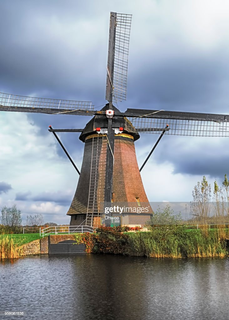 The Windmills of Kinderdijk in Netherlands : Stock Photo
