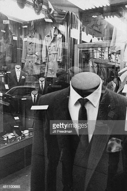 The window display of 'Manhattan' men's clothing store in Midtown Manhattan New York City 1967