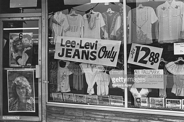 The window of a clothing store in Peekskill, New York, USA, August 1978.