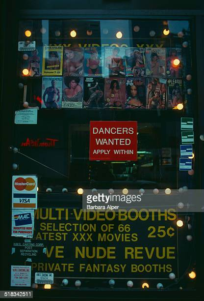 The window of a strip club on 8th Avenue New York City USA May 1992