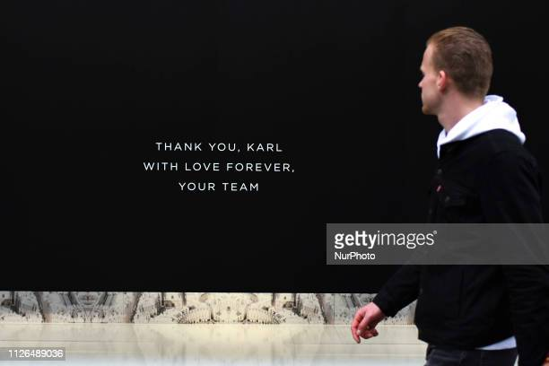 The window of Karl Lagerfeld shop has been blacked ou,t to pay tribute to the iconic fashion designer Karl Lagerfeld, who died in Paris at 85, London...