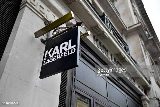 The window of Karl Lagerfeld shop has been blacked out to pay tribute to the iconic fashion designer Karl Lagerfeld who died in Paris at 85 London on...
