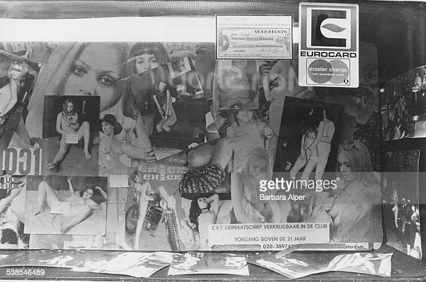 The window of the Carmen Club a sex shop and film club in Amsterdam Netherlands 27th March 1978 The club accepts Master Charge Eurocard and American...