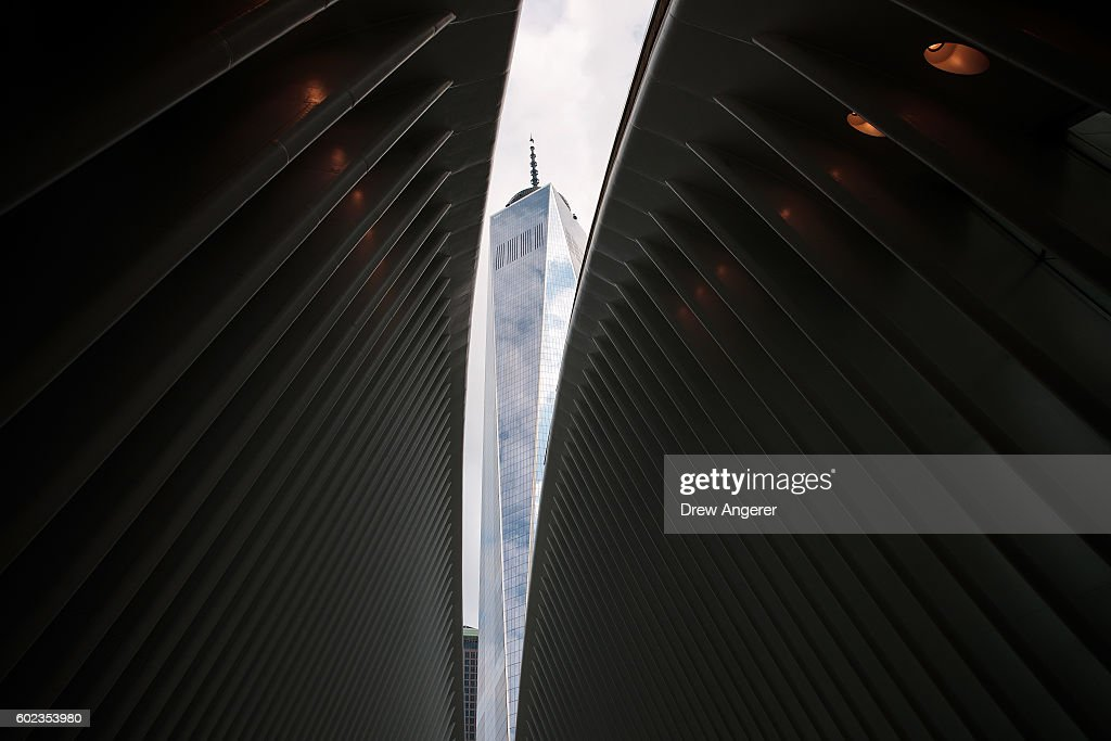 The windowed roof of the Oculus Transportation Hub is opened to reveal a view of One World Trade Center, September 11, 2016 in New York City. Throughout the country services are being held to remember the 2,977 people who were killed in New York, the Pentagon and in a field in rural Pennsylvania.