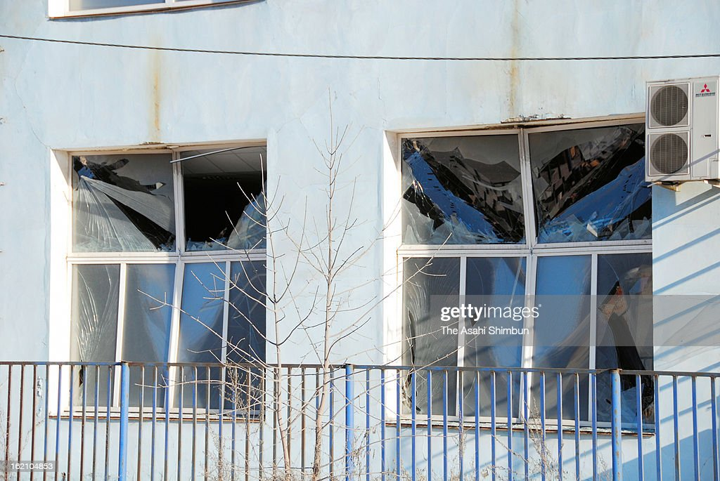 The windows are broken by the shock wave of the meteor explosion on February 16, 2013 in Chelyabinsk, Russia. Local government reported more than 1,100 people injured, mostly by flying glass broken by the shock wave of the meteor explosion.