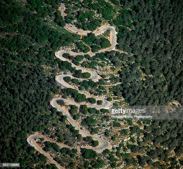 The windy road to the summit of Mount Tabor in the Galilee Here the Biblical prophet Deborah was said to have led an army of 10000 Israelites to...